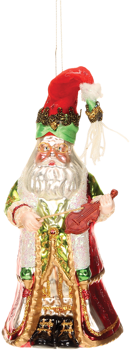 Glass Ornament - Santa with Violin