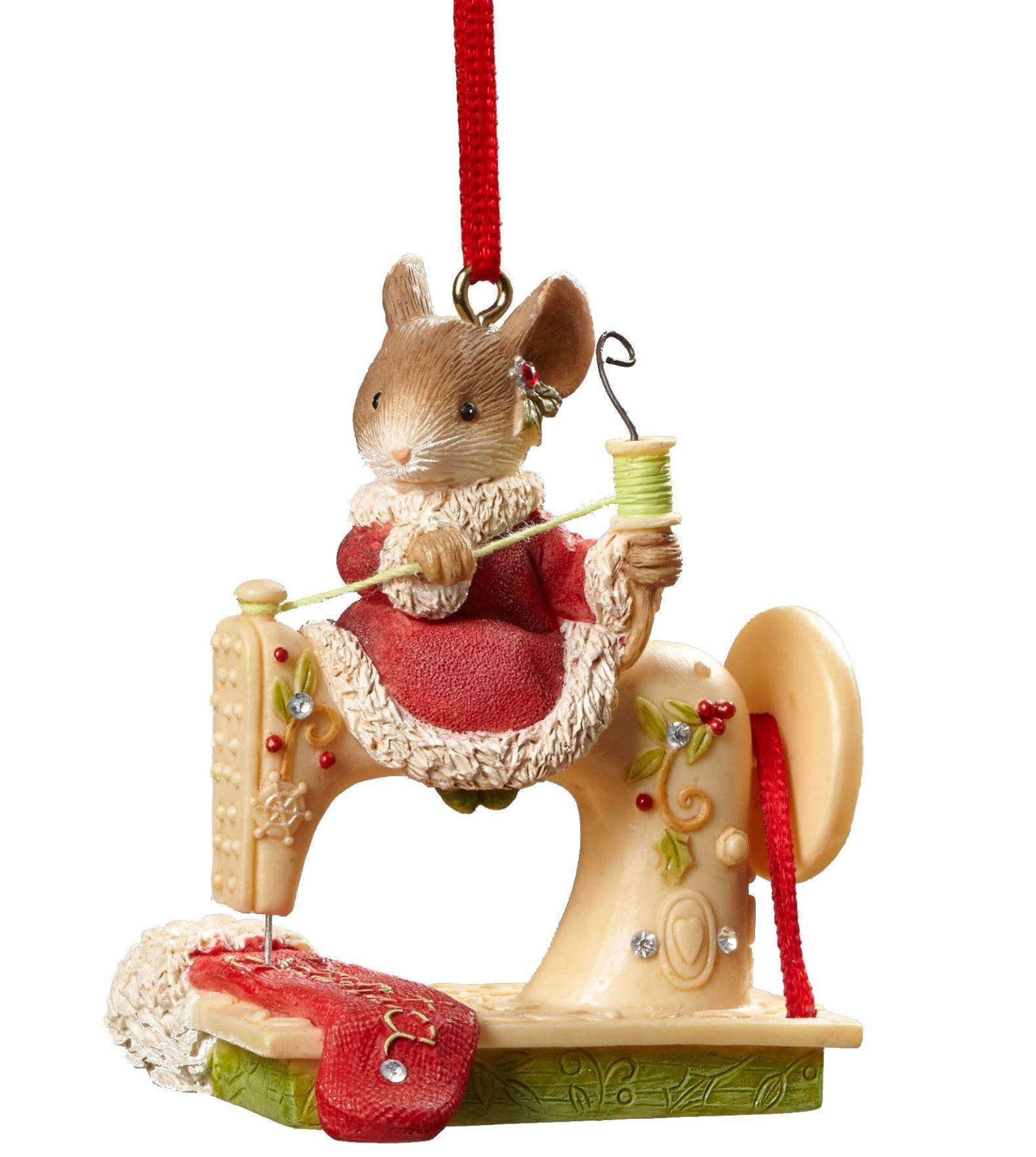 MOUSE SEWING MACHINE ORNAMENT