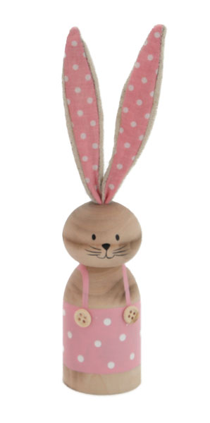STANDING WOODEN RABBIT PINK