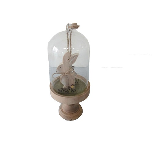 WOODEN GLASS HANGING DOME - RABBIT