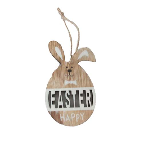 WOOD HANGING HAPPY EASTER BUNNY