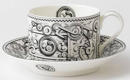 STEAMPUNK ESPRESSO CUP AND SAUCER