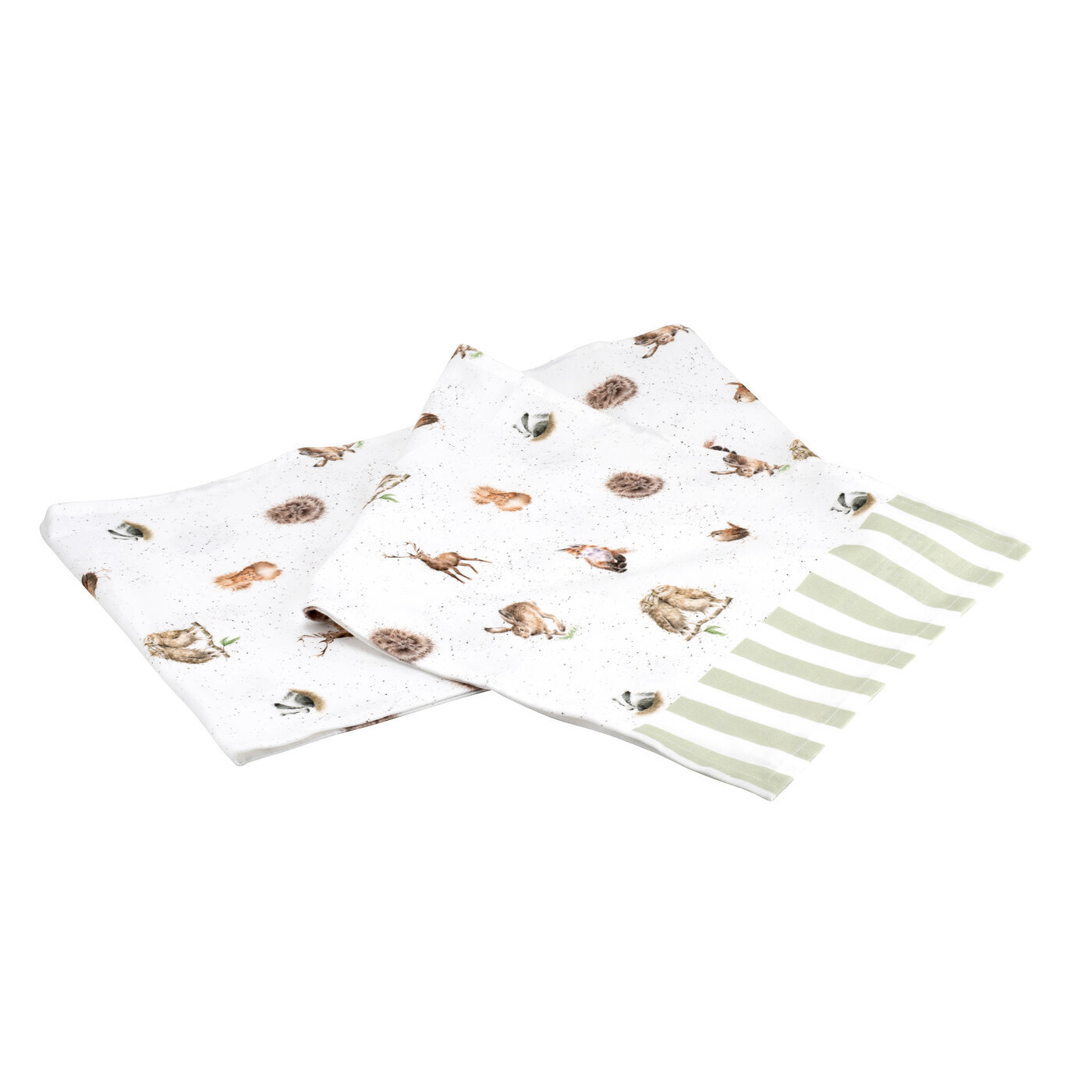 COTTON TABLE RUNNER WOODLAND AND STRIPES