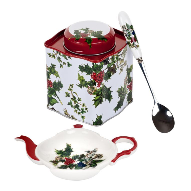 HOLLY AND IVY  3 PIECE TEA CADDY SET